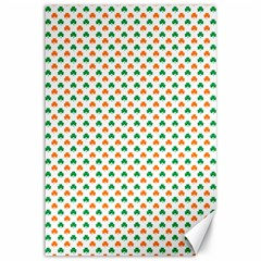 Orange And Green Heart-Shaped Shamrocks On White St. Patrick s Day Canvas 12  x 18