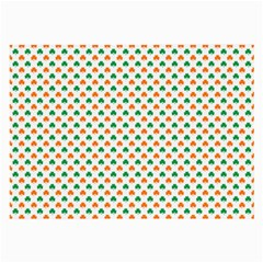 Orange And Green Heart-Shaped Shamrocks On White St. Patrick s Day Large Glasses Cloth