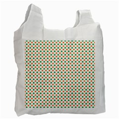 Orange And Green Heart-Shaped Shamrocks On White St. Patrick s Day Recycle Bag (Two Side)