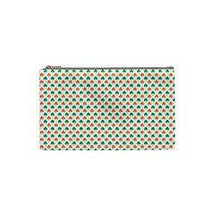 Orange And Green Heart-Shaped Shamrocks On White St. Patrick s Day Cosmetic Bag (Small)