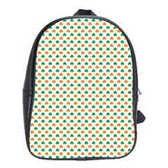 Orange And Green Heart-Shaped Shamrocks On White St. Patrick s Day School Bags(Large)