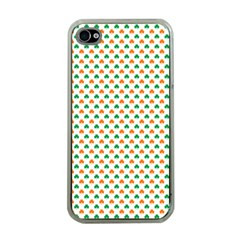 Orange And Green Heart-Shaped Shamrocks On White St. Patrick s Day Apple iPhone 4 Case (Clear)