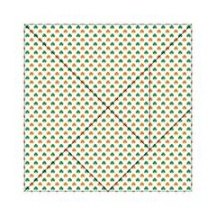 Orange And Green Heart-Shaped Shamrocks On White St. Patrick s Day Acrylic Tangram Puzzle (6  x 6 )