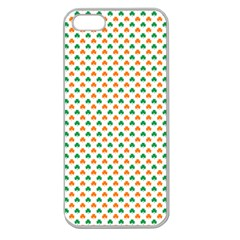 Orange And Green Heart-Shaped Shamrocks On White St. Patrick s Day Apple Seamless iPhone 5 Case (Clear)