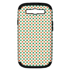 Orange And Green Heart-Shaped Shamrocks On White St. Patrick s Day Samsung Galaxy S III Hardshell Case (PC+Silicone)
