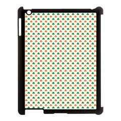 Orange And Green Heart-Shaped Shamrocks On White St. Patrick s Day Apple iPad 3/4 Case (Black)