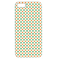 Orange And Green Heart-Shaped Shamrocks On White St. Patrick s Day Apple iPhone 5 Hardshell Case with Stand