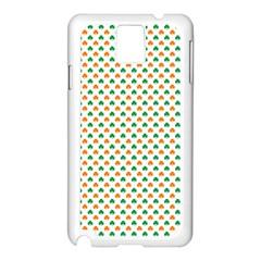 Orange And Green Heart-Shaped Shamrocks On White St. Patrick s Day Samsung Galaxy Note 3 N9005 Case (White)
