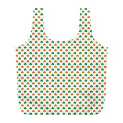 Orange And Green Heart-Shaped Shamrocks On White St. Patrick s Day Full Print Recycle Bags (L)