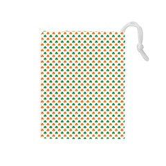 Orange And Green Heart-Shaped Shamrocks On White St. Patrick s Day Drawstring Pouches (Medium)