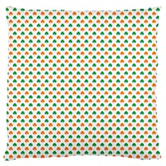 Orange And Green Heart-Shaped Shamrocks On White St. Patrick s Day Large Flano Cushion Case (Two Sides)