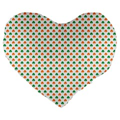 Orange And Green Heart-Shaped Shamrocks On White St. Patrick s Day Large 19  Premium Flano Heart Shape Cushions