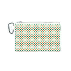 Orange And Green Heart-Shaped Shamrocks On White St. Patrick s Day Canvas Cosmetic Bag (S)