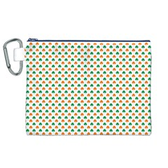 Orange And Green Heart-Shaped Shamrocks On White St. Patrick s Day Canvas Cosmetic Bag (XL)