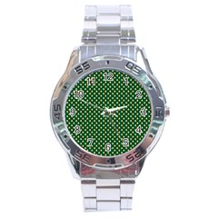 Irish Flag Green White Orange on Green St. Patrick s Day Ireland Stainless Steel Analogue Watch
