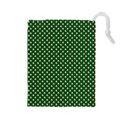 Irish Flag Green White Orange on Green St. Patrick s Day Ireland Drawstring Pouches (Large)