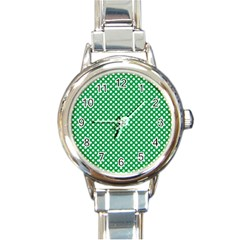 White Shamrocks On Green St. Patrick s Day Ireland Round Italian Charm Watch
