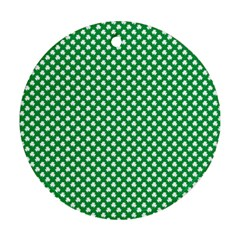White Shamrocks On Green St. Patrick s Day Ireland Ornament (Round)