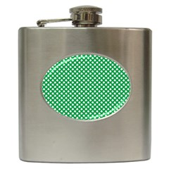 White Shamrocks On Green St. Patrick s Day Ireland Hip Flask (6 oz)