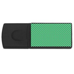 White Shamrocks On Green St. Patrick s Day Ireland USB Flash Drive Rectangular (2 GB)