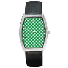 White Shamrocks On Green St. Patrick s Day Ireland Barrel Style Metal Watch