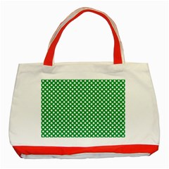 White Shamrocks On Green St. Patrick s Day Ireland Classic Tote Bag (Red)