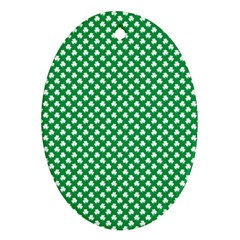 White Shamrocks On Green St. Patrick s Day Ireland Oval Ornament (Two Sides)
