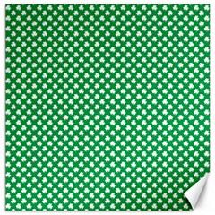 White Shamrocks On Green St. Patrick s Day Ireland Canvas 16  x 16