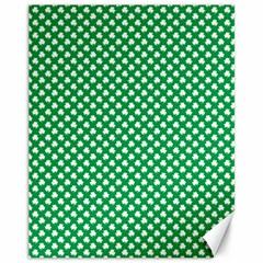 White Shamrocks On Green St. Patrick s Day Ireland Canvas 11  x 14
