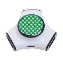 White Shamrocks On Green St. Patrick s Day Ireland 3-Port USB Hub