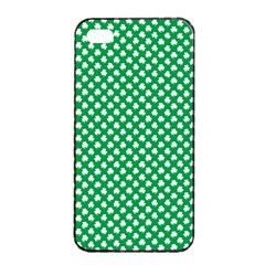White Shamrocks On Green St. Patrick s Day Ireland Apple iPhone 4/4s Seamless Case (Black)