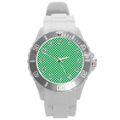 White Shamrocks On Green St. Patrick s Day Ireland Round Plastic Sport Watch (L)