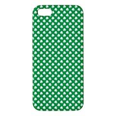 White Shamrocks On Green St. Patrick s Day Ireland Apple iPhone 5 Premium Hardshell Case