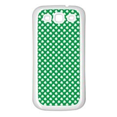 White Shamrocks On Green St. Patrick s Day Ireland Samsung Galaxy S3 Back Case (White)