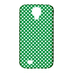 White Shamrocks On Green St. Patrick s Day Ireland Samsung Galaxy S4 Classic Hardshell Case (PC+Silicone)