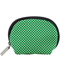 White Shamrocks On Green St. Patrick s Day Ireland Accessory Pouches (Small)