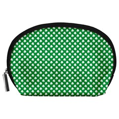 White Shamrocks On Green St. Patrick s Day Ireland Accessory Pouches (Large)
