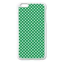 White Shamrocks On Green St. Patrick s Day Ireland Apple iPhone 6 Plus/6S Plus Enamel White Case