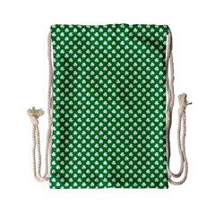 White Shamrocks On Green St. Patrick s Day Ireland Drawstring Bag (Small)