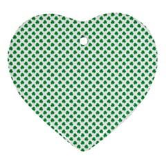 Green Shamrock Clover on White St. Patrick s Day Ornament (Heart)