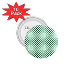 Green Shamrock Clover on White St. Patrick s Day 1.75  Buttons (10 pack)