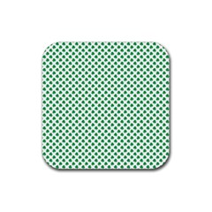Green Shamrock Clover on White St. Patrick s Day Rubber Coaster (Square)