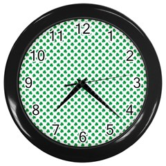 Green Shamrock Clover On White St  Patrick s Day Wall Clocks (black)