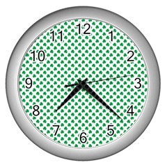 Green Shamrock Clover on White St. Patrick s Day Wall Clocks (Silver)