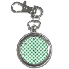 Green Shamrock Clover on White St. Patrick s Day Key Chain Watches
