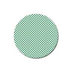 Green Shamrock Clover on White St. Patrick s Day Rubber Round Coaster (4 pack)