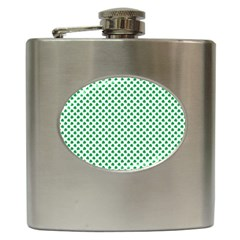 Green Shamrock Clover on White St. Patrick s Day Hip Flask (6 oz)