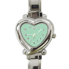 Green Shamrock Clover on White St. Patrick s Day Heart Italian Charm Watch
