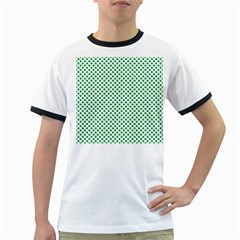 Green Shamrock Clover on White St. Patrick s Day Ringer T-Shirts