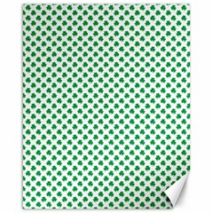 Green Shamrock Clover on White St. Patrick s Day Canvas 16  x 20